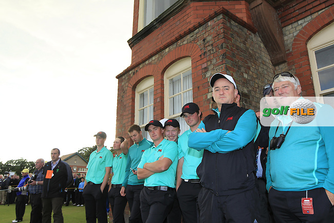 Team celebrations for Jack Hume (IRL) during the afternoon singles for the Walker cup Royal Lytham St Annes, Lytham St Annes, Lancashire, England. 13/09/2015<br /> Picture Golffile | Fran Caffrey<br /> <br /> <br /> All photo usage must carry mandatory copyright credit (&copy; Golffile | Fran Caffrey)