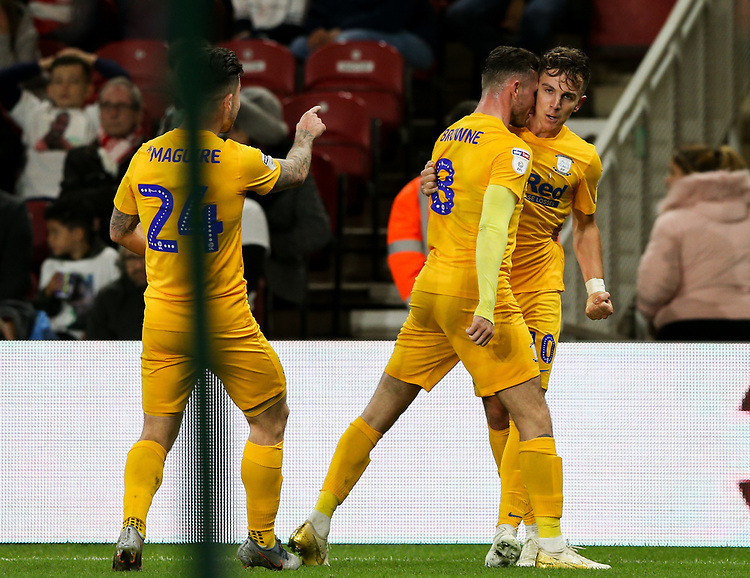 Preston North End's Josh Harrop celebrates scoring the opening goal with Alan Browne and Sean Maguire<br /> <br /> Photographer Alex Dodd/CameraSport<br /> <br /> The EFL Sky Bet Championship - Middlesbrough v Preston North End - Tuesday 1st October 2019  - Riverside Stadium - Middlesbrough<br /> <br /> World Copyright © 2019 CameraSport. All rights reserved. 43 Linden Ave. Countesthorpe. Leicester. England. LE8 5PG - Tel: +44 (0) 116 277 4147 - admin@camerasport.com - www.camerasport.com