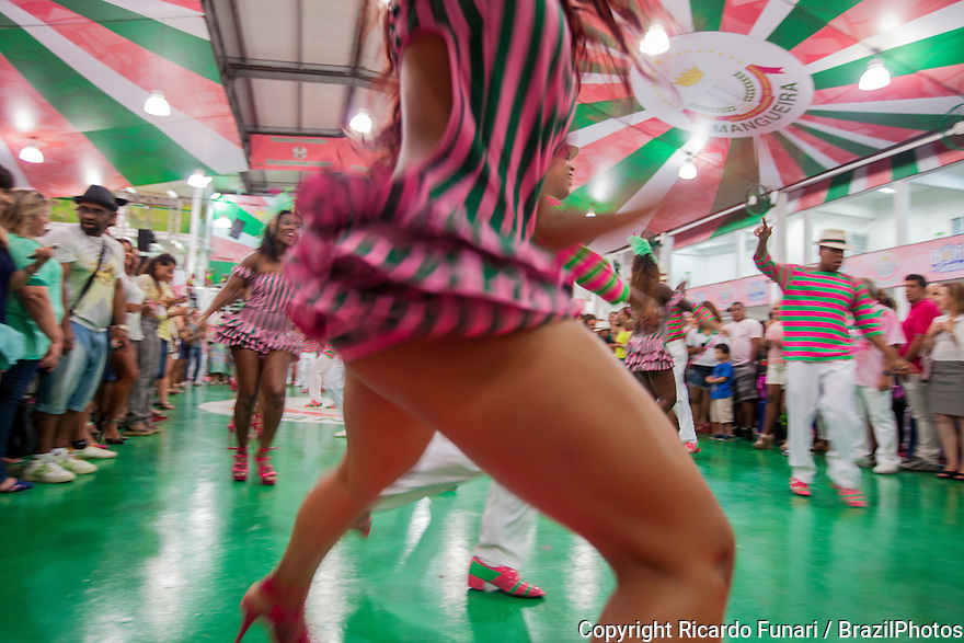Beautiful Brazilian woman dance samba - nightlife at Mangueira Samba School headquarter in Rio de Janeiro, Brazil.