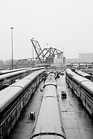 A View of the locomotive passenger trains being serviced at the depot near downtown Chicago, Illinois