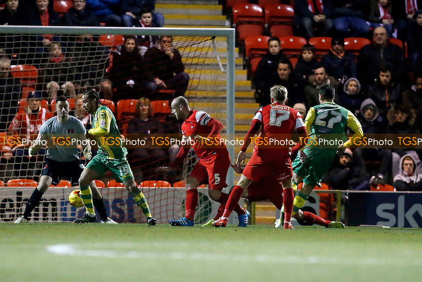 Notts County's No.27 Balint Bajner fires County in front to make it 1.0 scoring past O's keeper Alex Cisak and celebrating with Gary Jones<br /> Leyton Orient v Notts Co - SkyBet League One football at The Brisbane Road Stadium Leyton London 10/02/15 - MANDATORY CREDIT SIMON O'CONNOR -Self Billing applies where appropiate