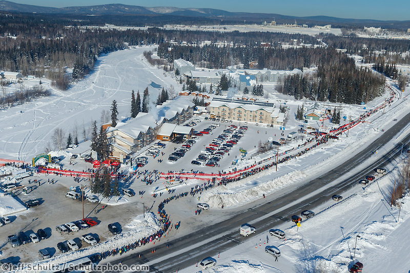 An aerial photo shows the start line along Airport Way and the Chena River during the re-start of the 2017 Iditarod in Fairbanks, Alaska at Pike's Landing on Monday March 6, 2017.<br /> <br /> Photo by Jeff Schultz/SchultzPhoto.com  (C) 2017  ALL RIGHTS RESVERVED