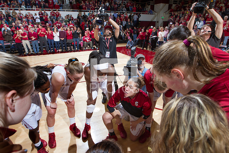 Stanford players before Stanford women's basketball  vs Washington State game at Maples Pavilion, Stanford, California on March 1, 2014.