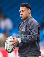 Newcastle Falcons' Sonatane Takulua during the pre match warm up<br /> <br /> Photographer Bob Bradford/CameraSport<br /> <br /> Anglo Welsh Cup Semi Final - Exeter Chiefs v Newcastle Falcons - Sunday 11th March 2018 - Sandy Park - Exeter<br /> <br /> World Copyright &copy; 2018 CameraSport. All rights reserved. 43 Linden Ave. Countesthorpe. Leicester. England. LE8 5PG - Tel: +44 (0) 116 277 4147 - admin@camerasport.com - www.camerasport.com