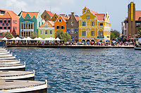 Willemstad, Curacao, Lesser Antilles.  Looking Over Pontoons of the Queen Emma Bridge toward Punda.