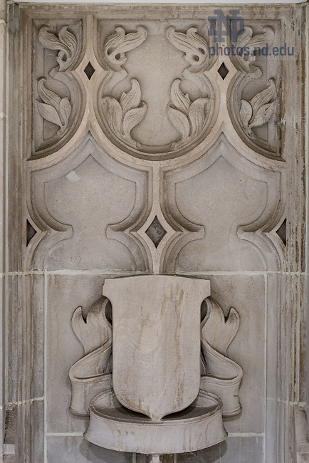 November 16, 2017; Stone relief in Cushing Hall of Engineering (Photo by Matt Cashore/University of Notre Dame)