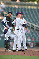 Northwest Arkansas Naturals manager Darryl Kennedy (8) looks to the bullpen for a relief pitcher during a Texas League game between the Northwest Arkansas Naturals and the Arkansas Travelers on May 30, 2019 at Arvest Ballpark in Springdale, Arkansas. (Jason Ivester/Four Seam Images)