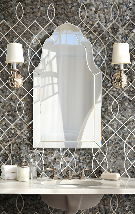 Luc, a hand-cut jewel glass mosaic shown in Lavastone and Mirror, is part of the Aurora® collection by Sara Baldwin for New Ravenna.