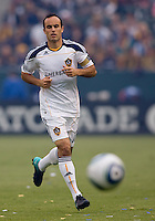 LA Galaxy midfielder Landon Donovan chases down a loose ball. The LA Galaxy defeated FC Dallas 2-1 at Home Depot Center stadium in Carson, California on Sunday October 24, 2010.