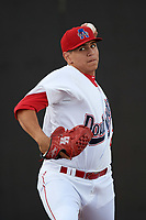 Auburn Doubledays starting pitcher Seth Romero (21) warms up in the bullpen before a game against the Connecticut Tigers on August 8, 2017 at Falcon Park in Auburn, New York.  Auburn defeated Connecticut 7-4.  (Mike Janes/Four Seam Images)