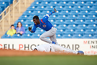South Bend Cubs center fielder Chris Singleton (3) runs to second base after colliding with Tyler Friis (7) on a play at first base during the first game of a doubleheader against the Lake County Captains on May 16, 2018 at Classic Park in Eastlake, Ohio.  South Bend defeated Lake County 6-4 in twelve innings.  (Mike Janes/Four Seam Images)