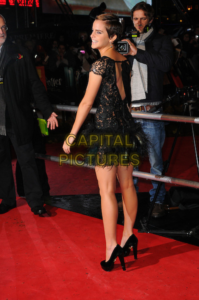 "EMMA WATSON.""Harry Potter And The Deathly Hallows: Part 1"" World Film Premiere, Empire cinema Leicester Square and Odeon Leicester Square, London, England, UK, 11th November 2010. .full length black sheer see thru through feathers lace backless rear behind dress shoes heels platform side .CAP/CAS.©Bob Cass/Capital Pictures."