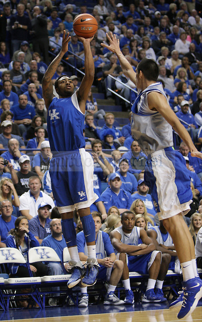 Kentucky Wildcats guard James Young (1) jumps to shoot the ball during the first half of the Blue-White scrimmage at Rupp Arena in Lexington, Ky., on Tuesday, October 29, 2013. Photo by Tessa Lighty | Staff