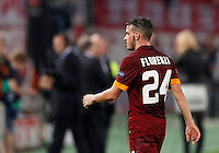 Calcio, Champions League, Gruppo E: Roma vs Bayern Monaco. Roma, stadio Olimpico, 21 ottobre 2014.<br /> Roma's Alessandro Florenzi leaves the pitch at the end of the Group E Champions League football match between AS Roma and Bayern at Rome's Olympic stadium, 21 October 2014. Bayern won 7-1.<br /> UPDATE IMAGES PRESS/Isabella Bonotto
