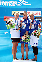 13th Fina World Championships From 17th to 2nd August 2009.Roma 22th July 2009 -.Women's Open Water Swimming 10Km - Nuoto Acque Libere 10Km.Ekatarina SELIVERSTOVA (RUS) Silver Medal, Keri-Anne PAYNE (GBR) Gold Medal, Martina Grimaldi (ITA) Bronze Medal .photo: Roma2009.com/InsideFoto/SeaSee.com .Foto Andrea Staccioli Insidefoto