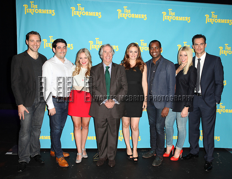 "The cast and creative team of ""The Performers"", from left, playwright David West Read, director Evan Cabnet, actress Jenni Barber, actor Henry Winkler, actress Alicia Silverstone, actor Daniel Breaker, actress Ari Graynor and actor Cheyenne Jackson attends press event to introduce the cast and creators of the new Broadway play ""The Performers""at the Hard Rock Cafe on Tuesday, Sept. 25, 2012 in New York."
