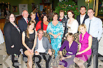 Mary Lacey Killarney who celebrated her retirement from Killarney Community College in the Dromhall Hotel with her family and friends on Friday night front row l-r: Fiona, Kevin, Mary and Sarah Lacey. Back row: Maureen O'Sullivan, Eamon Fitzgerald, Carmella Sheehy, Deirdre Fleming, Marie Murphy, Mary Fuller, Fiona O'Brien, Andrew Marvell and David Lacey..