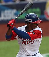 Francisco Lindor Puerto Rico , durante el partido entre Italia vs Puerto Rico, World Baseball Classic en estadio Charros de Jalisco en Guadalajara, Mexico. Marzo 12, 2017. (AP Photo/Luis Gutierrez)