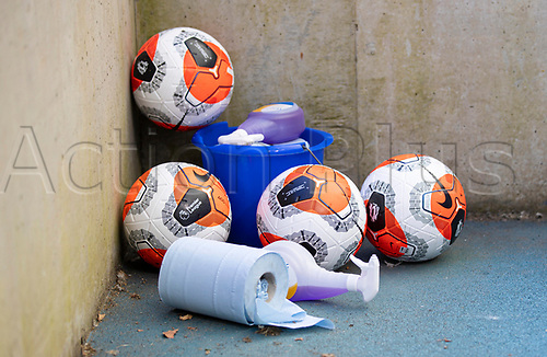 20th June 2020, American Express Stadium, Brighton, Sussex, England; Premier League football, Brighton versus Arsenal ;  Official match balls wait to be sanitized during the Premier League match
