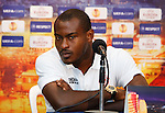 Hapoel Tel Aviv's goalkeeper Vincent Enyeama at the Bloomfield stadium head of tomorrow night's Europa League match with Celtic