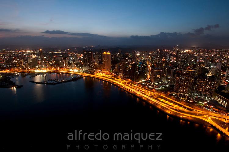 Aerial  skyline view of Panama City at sunset. Panama province, Panama, Central America.