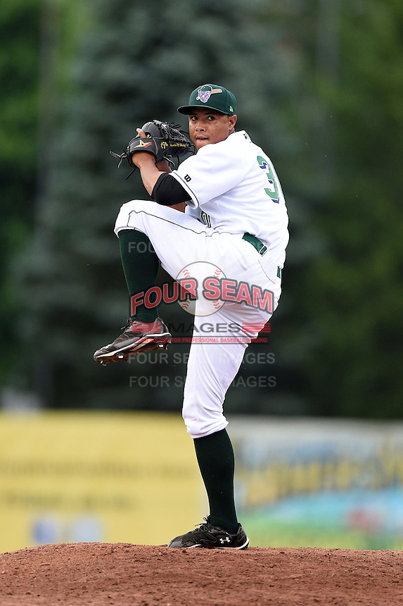 Jamestown Jammers pitcher Miguel Rosario (30) delivers a pitch during a game against the Vermont Lake Monsters on July 12, 2014 at Russell Diethrick Park in Jamestown, New York.  Jamestown defeated Vermont 3-2.  (Mike Janes/Four Seam Images)
