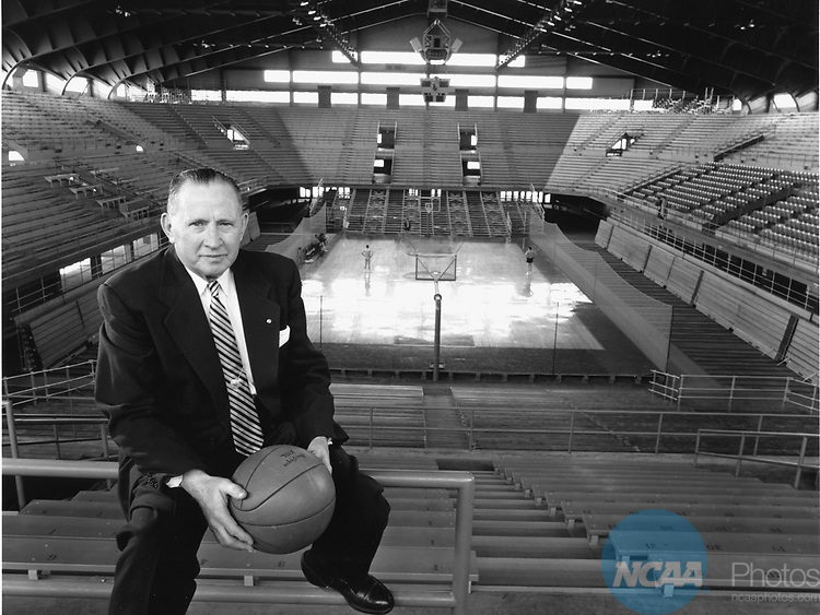"1954:  Dr. Forrest C. """"Phog"""" Allen coached basketball at the University of Kansas for 39 seasons, he is shown here the afternoon before the Allen Fieldhouse was dedicated in his honor. Photo Copyright Rich Clarkson"
