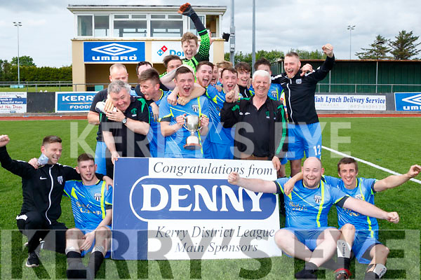 Champions<br /> ---------------<br /> Strand Road celebrate their victory over Sporting Listowel in the Denny sponsored, Division 1 league final at Mounthawk Pk, Tralee last Sunday afternoon.