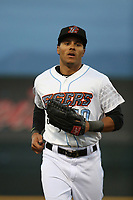 Michael Hermosillo (10) of the Inland Empire 66ers jogs off the field between innings of the game against the San Jose Giants at San Manuel Stadium on April 8, 2017 in San Bernardino, California. (Larry Goren/Four Seam Images)