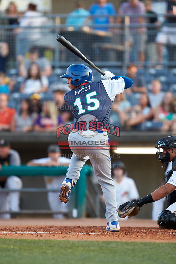 Cristian Perez (15) of the Lexington Legends at bat against the West Virginia Power at Appalachian Power Park on June 7, 2018 in Charleston, West Virginia. The Power defeated the Legends 5-1. (Brian Westerholt/Four Seam Images)