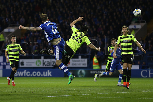 May 17th 2017, Hillsborough, Sheffield, Yorkshire England; EFL Championship football playoff, semi-final, second leg, Sheffield Wednesday versus Huddersfield Town;  Sheffield Wednesdays Steven Fletcher heads the ball towards goal and scores for 1-0 in the 51st minute