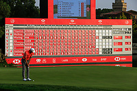 Haotong Li (CHN) on the 18th green during the 3rd round of the WGC HSBC Champions, Sheshan Golf Club, Shanghai, China. 02/11/2019.<br /> Picture Fran Caffrey / Golffile.ie<br /> <br /> All photo usage must carry mandatory copyright credit (© Golffile | Fran Caffrey)
