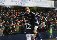 17th March 2019, The Den, London, England; The Emirates FA Cup, quarter final, Millwall versus Brighton and Hove Albion; Jed Wallace of Millwall celebrates with Mahlon Romeo of Millwall after Aiden O'Brien of Millwall celebrates scoring his sides 2nd goal in the 79th minute to make it 2-0