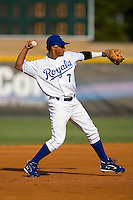 Shortstop Yowill Espinal #7 of the Burlington Royals makes a throw to first base at Burlington Athletic Park July 19, 2009 in Burlington, North Carolina. (Photo by Brian Westerholt / Four Seam Images)