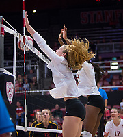 STANFORD, CA - November 15, 2017: Meghan McClure, Tami Alade at Maples Pavilion. The Stanford Cardinal defeated USC 3-0 to claim the Pac-12 conference title.