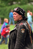 Woman age 40 at the Vietnam Wall on Memorial Day. St Paul Minnesota USA