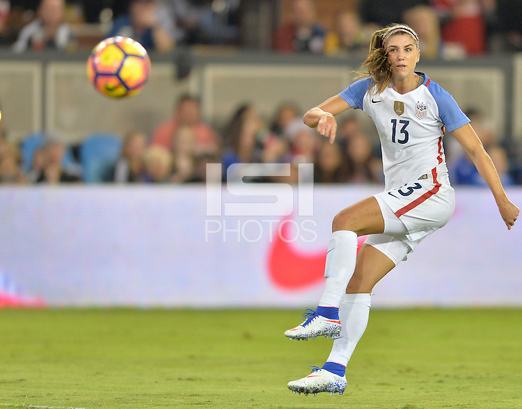 San Jose, CA - November 10, 2016: The U.S. Women's National team go up 6-1 over Romania during an international friendly game at Avaya Stadium.