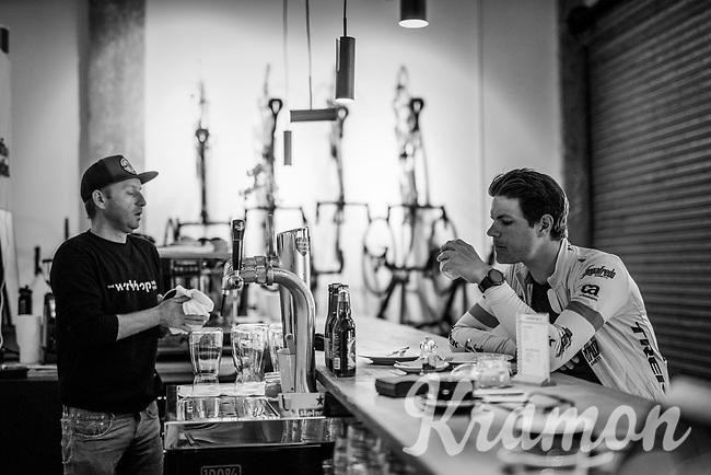 post-ride coffee for Jasper Stuyven (BEL/Trek-Segafredo) after a solo ride at the Trek-Segafredo Mallorca training camp <br /> <br /> January 2018