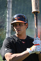 OAKLAND, CA - JUNE 6:  Brian Roberts #1 of the Baltimore Orioles takes batting practice before the game against the Oakland Athletics at the Oakland-Alameda County Coliseum on June 6, 2009 in Oakland, California. Photo by Brad Mangin