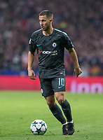 Chelsea´s forward Eden Hazard lamenting during the UEFA Champions League group C match between Atletico Madrid and Chelsea played at the Wanda Metropolitano Stadium in Madrid, on September 27th 2017.