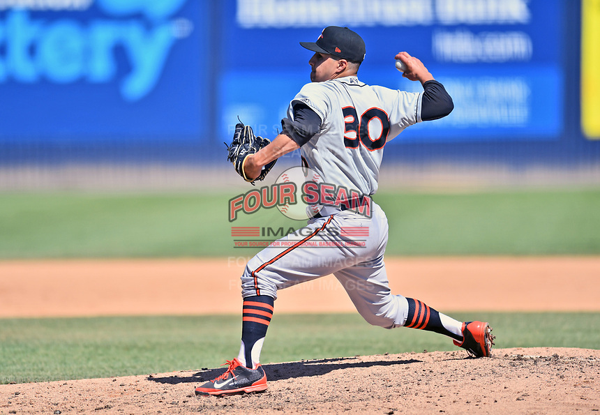 Delmarva Shorebirds pitcher Matt De La Rosa (30) delivers a pitch during a game against the Asheville Tourists at McCormick Field on May 5, 2019 in Asheville, North Carolina. The Shorebirds defeated the Tourists 10-9. (Tony Farlow/Four Seam Images)