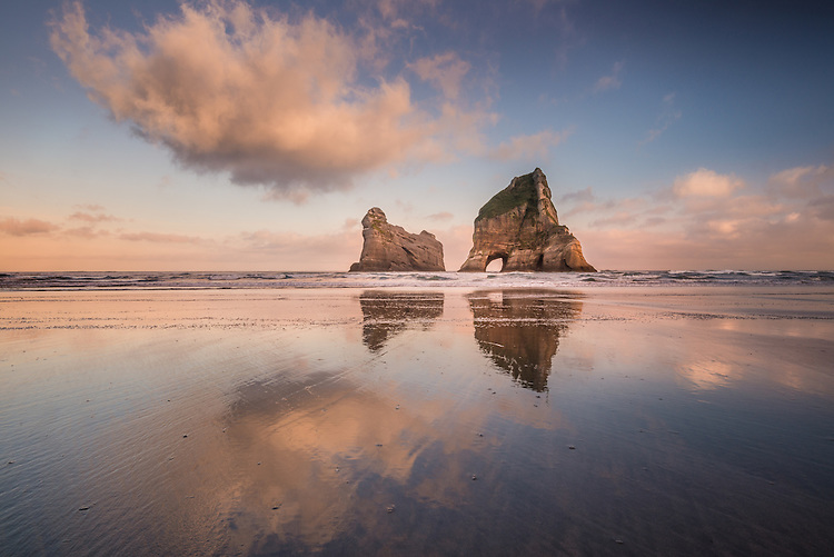 Picture of Sunrise at  Wharariki Beach, Golden Bay, New Zealand - stock photo, canvas, fine art print