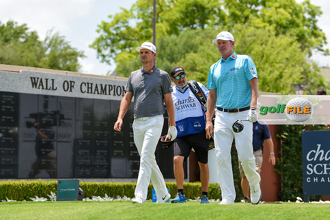 Justin Rose (GBR) and Brandt Snedeker (USA) walk past the Wall of Champions as they depart the tee on 1 during round 1 of the 2019 Charles Schwab Challenge, Colonial Country Club, Ft. Worth, Texas,  USA. 5/23/2019.<br /> Picture: Golffile | Ken Murray<br /> <br /> All photo usage must carry mandatory copyright credit (© Golffile | Ken Murray)