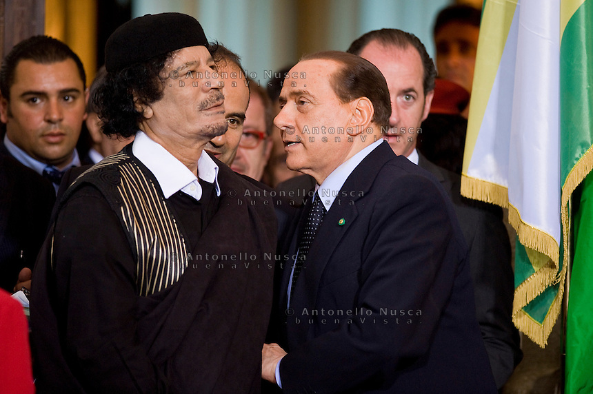 Silvio Berlusconi during the press conference with Libya's leader Muammar Gaddafi at Villa Madama in Rome June 10, 2009