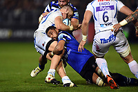 Taulupe Faletau of Bath Rugby tackles Luke Cowan-Dickie of Exeter Chiefs. Gallagher Premiership match, between Bath Rugby and Exeter Chiefs on October 5, 2018 at the Recreation Ground in Bath, England. Photo by: Patrick Khachfe / Onside Images