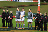 Referee Angus Mabey and Asiistants Antony Petrie and Brandon Roberts during the moments silence for Sir Brian Lochore. Mitre 10 Cup rugby game between Counties Manukau Steelers and Taranaki Bulls, played at Navigation Homes Stadium, Pukekohe on Saturday August 10th 2019. Taranaki won the game 34 - 29 after leading 29 - 19 at halftime.<br /> Photo by Richard Spranger.