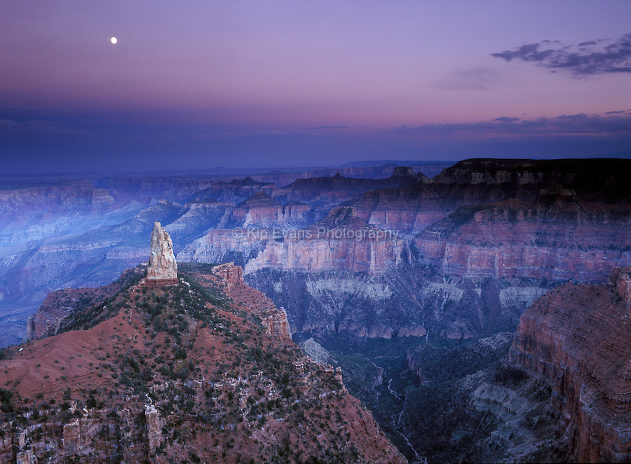 Full moon rising over spire -North rim of Grand Canyon National Park