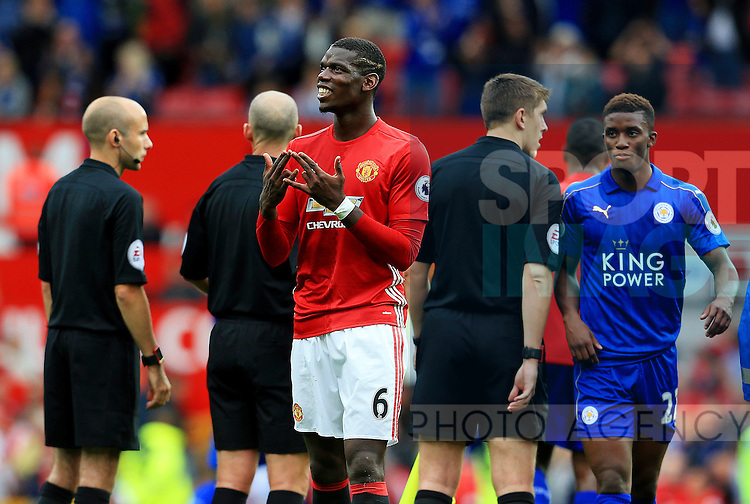 Paul Pogba of Manchester United celebrates at full time during the Premier League match at Old Trafford Stadium, Manchester. Picture date: September 24th, 2016. Pic Sportimage