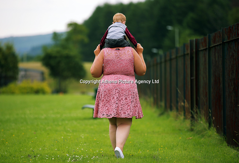 LOUISE TICKLE STORY<br />Pictured: Amy with her 18 month old son in south Wales, UK. Saturday 08 July 2017<br />Re: Amy (NOT HER REAL NAME) who lost two babies to adoption, after voluntarily allowing the local authority to look after them - temporarily, so she thought, under something called Section 20 - while she sorted out housing and mental health issues. They were then put on a plan for adoption, and both were in the end adopted.