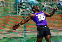 23 MAY 2010 - LOUGHBOROUGH, GBR - Emeka Udechuku (Loughborough University) prepares to release during the Mens Discus at the Loughborough International Athletics .(PHOTO (C) NIGEL FARROW)